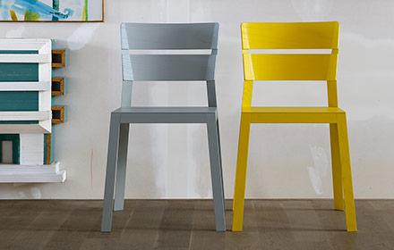 Schneiderschram Satsuma CNC milled wooden chair Holzstuhl grau gelb
