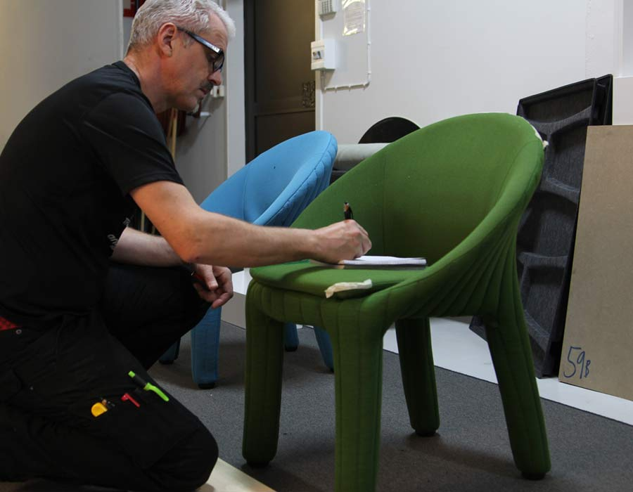 Offecct easy chair coupe - designer Marcus Keichel at work on the easy chair