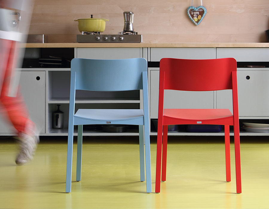 thonet-chair-330-blue and red chair in kitchen interior